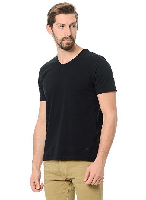 Kiğılı V Yaka Tişört Siyah